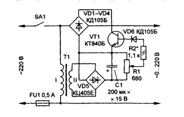 The regulator circuit mains voltage amplitude and its practical implementation