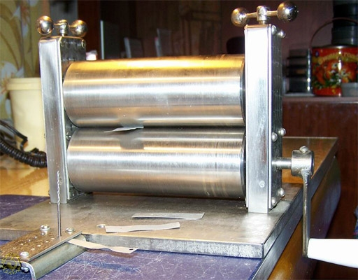 Homemade rolling mill in action